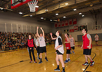 Sam Wright makes a shot to the basket during Belmont High School's the unified basketball game held on Thursday morning.  (Karen Bobotas/for the Laconia Daily Sun)