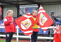 Flag bearers at Stoke Gifford Stadium - Mandatory by-line: Paul Knight/JMP - 26/08/2018 - FOOTBALL - Stoke Gifford Stadium - Bristol, England - Bristol City Women v Sheffield United Women - Continental Tyres Cup