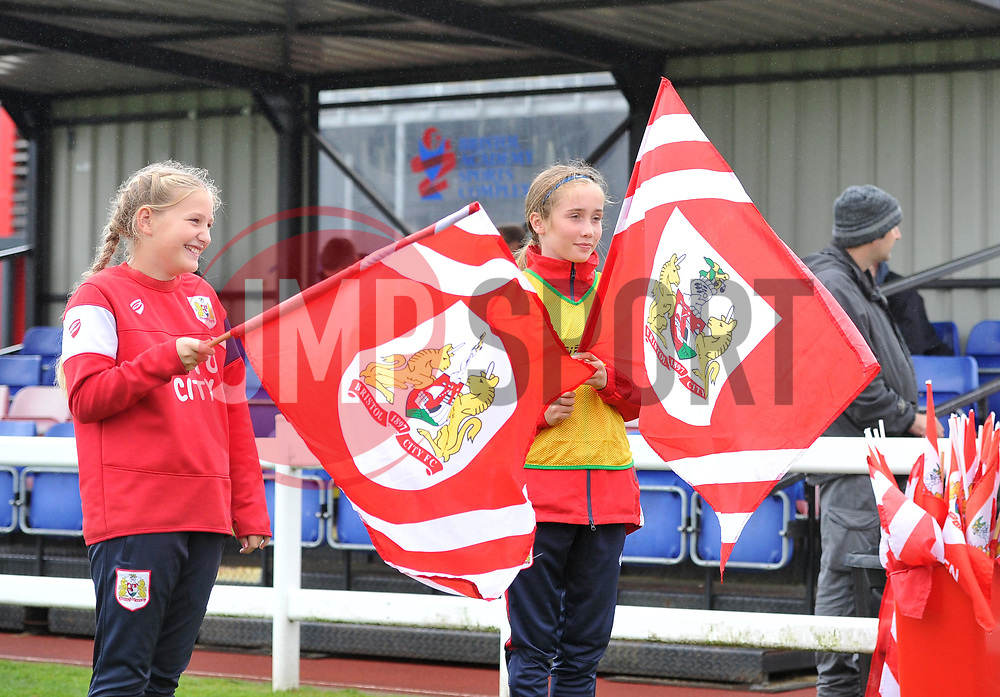 Flag bearers at Stoke Gifford Stadium - Mandatory by-line: Paul Knight/JMP - 26/08/2018 - FOOTBALL - Stoke Gifford Stadium - Bristol, England - Bristol City Women v Sheffield United Women - Continental Tyres Cup