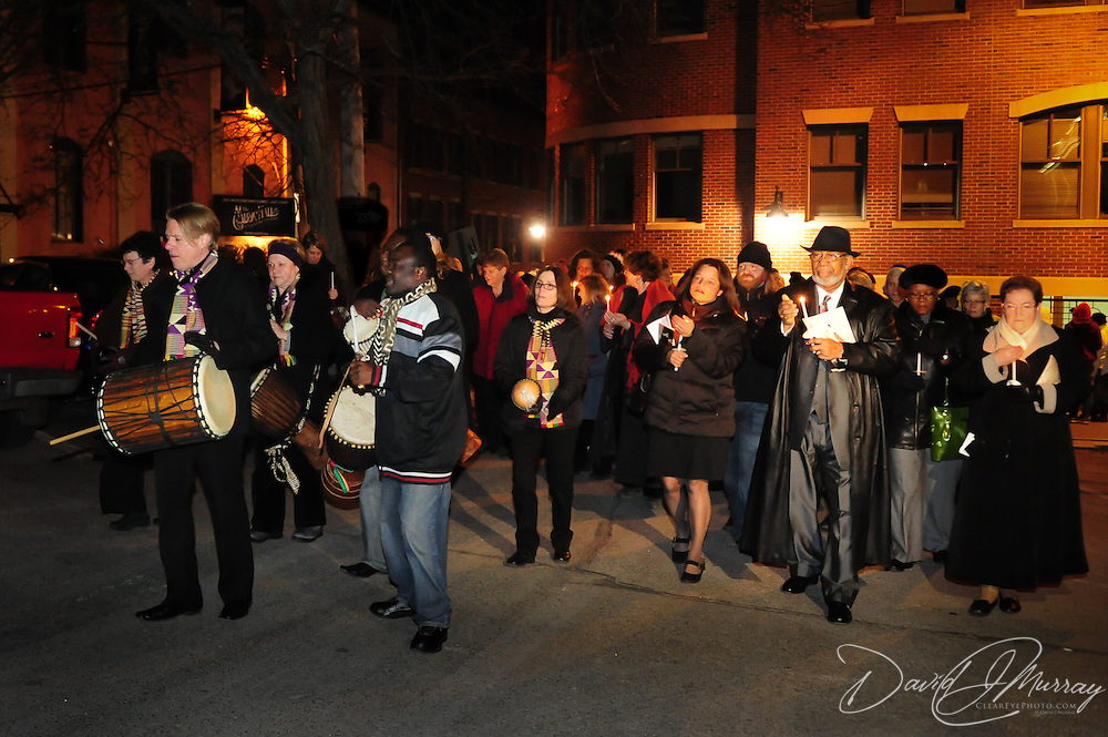 Supporters process to the site of the African Burying Ground in Portsmouth, NH following a concert by the Soweto Gospel Choir at The Music Hall