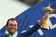 Francesco Molinari (Ita) with the trophy during the sunday singles session of Ryder Cup 2018, at Golf National in Saint-Quentin-en-Yvelines, France, September 30, 2018 - Photo Philippe Millereau / KMSP / ProSportsImages / DPPI