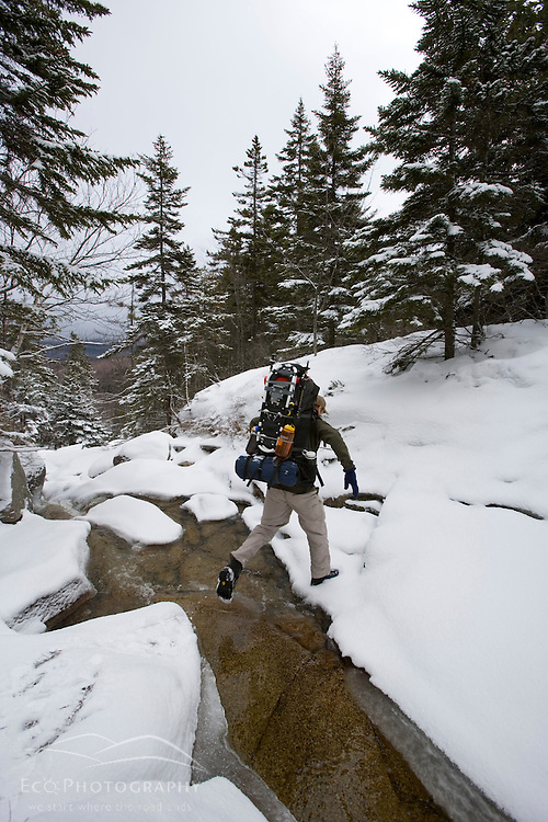 A hiker crossing the stream above Zealand Falls.