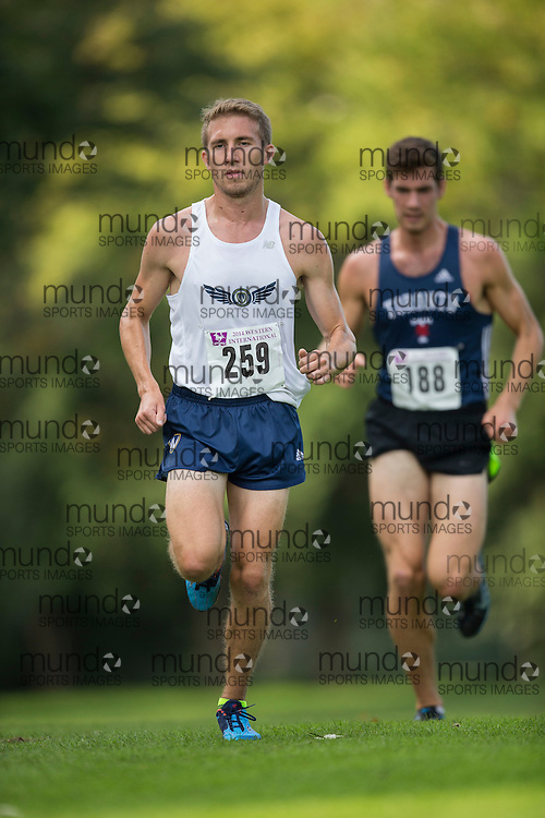 Nick Falk of the Unattached runs at the 2014 Western International Cross country meet in London Ontario, Saturday,  September 20, 2014.<br /> Mundo Sport Images/ Geoff Robins