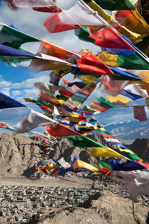 Buddhist prayer flags at Namgyal Tsemo Gompa, on the Peak of Victory above Leh City, Ladakh, India