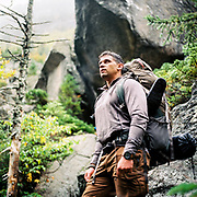 Micheal taking in the remoteness and beauty of the Mahoosuc Notch in Maine - the hardest mile on the Appalachian Trail