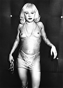 Clubber in see-through Dress, Torture Garden, London, 1990s.