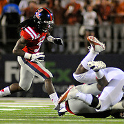 Mississippi defensive back Charles Sawyer (3) chases down the action during the first half of an NCAA college football against Texas game in Oxford, Miss., Saturday, Sept. 15, 2012. Texas won 66-31. (Photo/Thomas Graning)