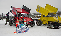 Mike Horsch's Sprint and Derek Jeanson's 4 cyl. RWD race cars on Meredith Bay in preparation for Lakes Region Ice Racing Club's nostalgic Latchkey Cup being held in celebration of Meredith's 250th on Saturday, February 17th.  (Karen Bobotas/for the Laconia Daily Sun)