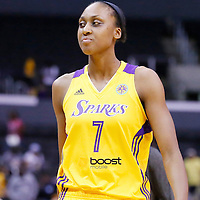 25 May 2014: Los Angeles Sparks forward/center Sandrine Gruda (7) is seen during the Los Angeles Sparks 83-62 victory over the San Antonio Stars, at the Staples Center, Los Angeles, California, USA.