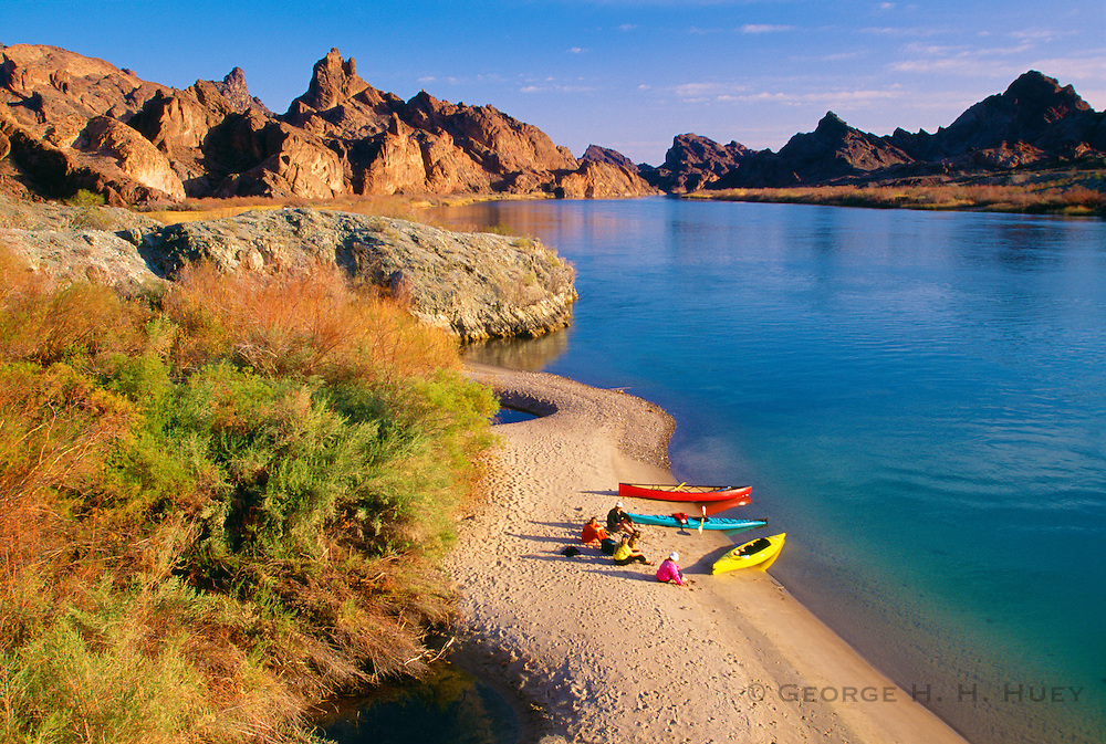 350166-1002 ~ Copyright: George H. H. Huey ~ Canoes and kayak in Topock Gorge. Havasu National Wildlife Refuge, Arizona.