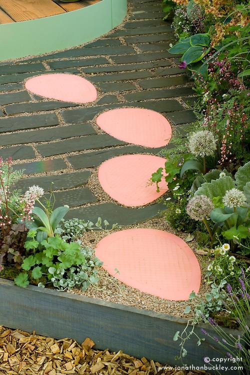 Pink stepping stones. The Crystal Cobweb Garden. Designer:  Freya Lawson - Chelsea 2005