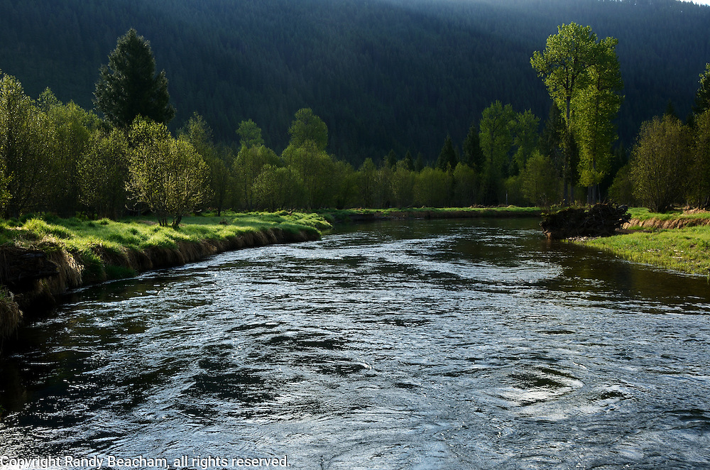 Bull River and the Cabinet Mountains in spring. Bull River Valley, northwest Montana.