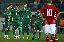Part of Slovenian national team preparing to have a shot to the goal during the UEFA Friendly match between national teams of Slovenia and Denmark at the Stadium on February 6, 2008 in Nova Gorica, Slovenia.  Slovenia lost 2:1. From left: Birsa,Sisic, Novakovic and Jukan. (Photo by Vid Ponikvar / Sportal Images).