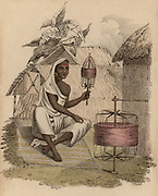 Indian woman winding silk thread. Hand-coloured engraving published Rudolph Ackermann, London, 1822.