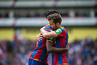LONDON, ENGLAND - MAY 13: Yohan Cabaye (7) of Crystal Palace, Wilfried Zaha (11) of Crystal Palace during the Premier League match between Crystal Palace and West Bromwich Albion at Selhurst Park on May 13, 2018 in London, England. MB Media
