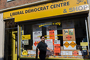 In the Hastings and Rye constituency of serving Conservative Home Secretary, Amber Rudd MP, is the Liberal Democrat party window in St. Leonards, on 29th April 2017, In St Leonards, East Sussex, England.