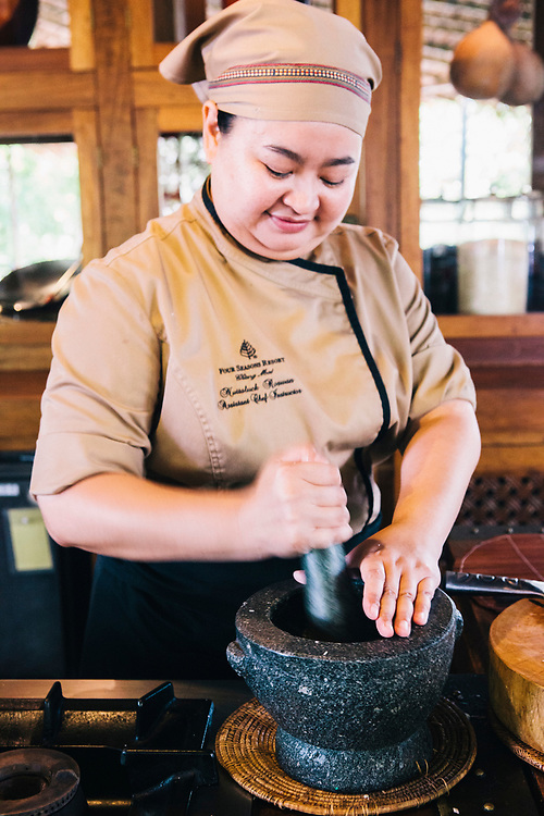 Chef Meow at the Four Seasons Resort cooking school, Chiang Mai