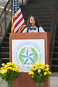 Sharpstown HS student, Jennifer Cantu, speaking at Grand Opening of new school building. May 3, 2018.