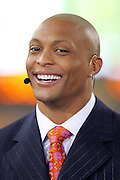 GLENDALE, AZ - JANUARY 8:  Eddie George smiles on the set of the FOX Sports television pregame show rehearsal at the Ohio State Buckeyes game against the Florida Gators at the 2007 Tostitos BCS National Championship Game at the University of Phoenix Stadium on January 8, 2007 in Glendale, Arizona. The Gators defeated the Buckeyes 41-14. ©Paul Anthony Spinelli *** Local Caption *** Eddie George