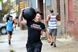 Jim Rosinski, of South Philadelphia, participates in a Work out session of Phoenix Multisports at Fearless Athletics, in South Philadelphia, on October 8, 2016. (Bastiaan Slabbers / for phillyvoice)