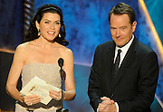 Julianna Margulies and Bryan Cranston present Male Actor in a Comedy Series. The 18th Annual Screen Actors Guild Awards were held at the Shrine Exposition Center in Los Angeles, CA 1/29/2012(John McCoy/Staff Photographer)