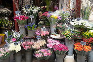 A colourful displayof cut flowers for sale outside a flower shop in Paris, France, Europe