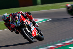 May 13, 2018 - Imola, BO, Italy - Chaz Davies of Aruba.it Racing - Ducati during the race 2 of the Motul FIM Superbike Championship, Italian Round, at International Circuit ''Enzo and Dino Ferrari'', on May 13, 2018 in Imola, Italy  (Credit Image: © Danilo Di Giovanni/NurPhoto via ZUMA Press)