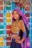 Inde, Gujarat, Kutch, village des environs de Bhuj, population Rabari // India, Gujarat, Kutch, village around Bhuj, Rabari ethnic group