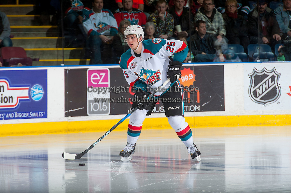 KELOWNA, CANADA - MARCH 4: Cal Foote #25 of the Kelowna Rockets skates with the puck aTri-City Americans on March 4, 2017 at Prospera Place in Kelowna, British Columbia, Canada.  (Photo by Marissa Baecker/Shoot the Breeze)  *** Local Caption ***