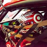 Daytona, FL - Jan 10, 2015:  Kyle Larson (02) straps in before taking to the track for the The Roar Before The 24 at Daytona International Speedway in Daytona, FL.