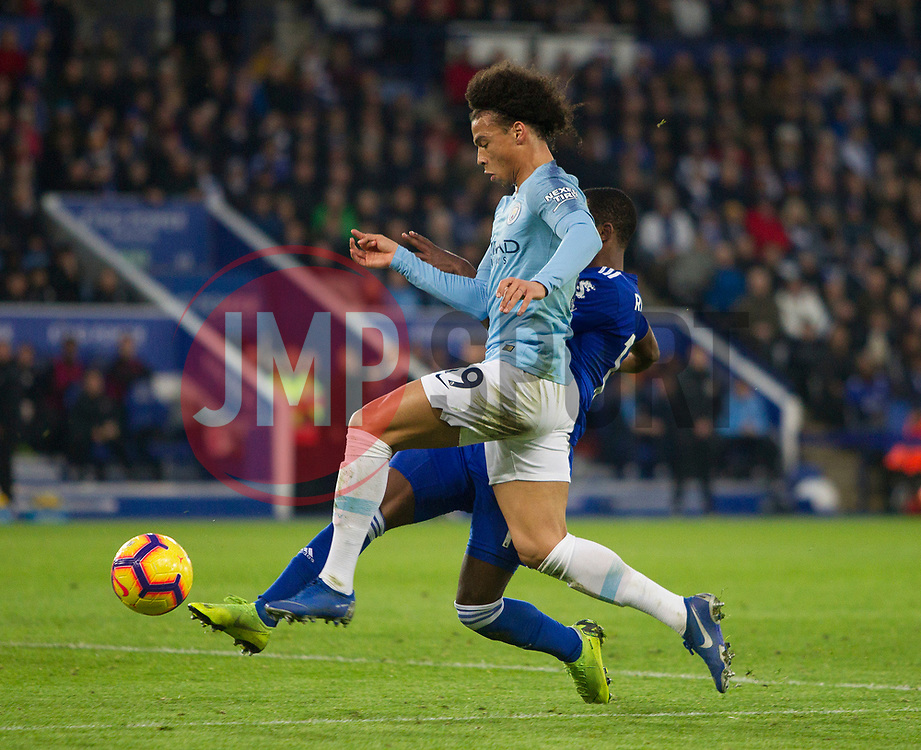 Ricardo Pereira of Leicester City (R) and Leroy Sane of Manchester City in action - Mandatory by-line: Jack Phillips/JMP - 26/12/2018 - FOOTBALL - King Power Stadium - Leicester, England - Leicester City v Manchester City - English Premier League
