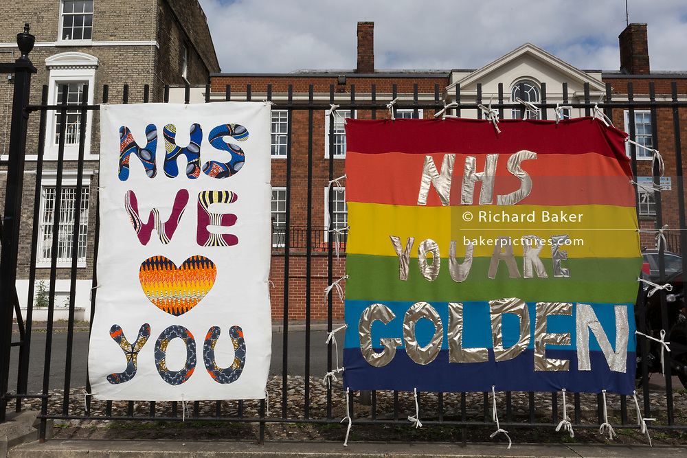 The day after UK Prime Minister Boris Johnson addressed the nation with his roadmap for the coming weeks and months during the Coronavirus pandemic lockdown, banners supporting and thanking NHS (National Health Service) key workers, have appeared outside the Maudsley Hospital that specialises in mental health services and is opposite King's College Hospital (one of the capital's major trauma centres and a site for Covid patients, on 11th May 2020, in London, England.
