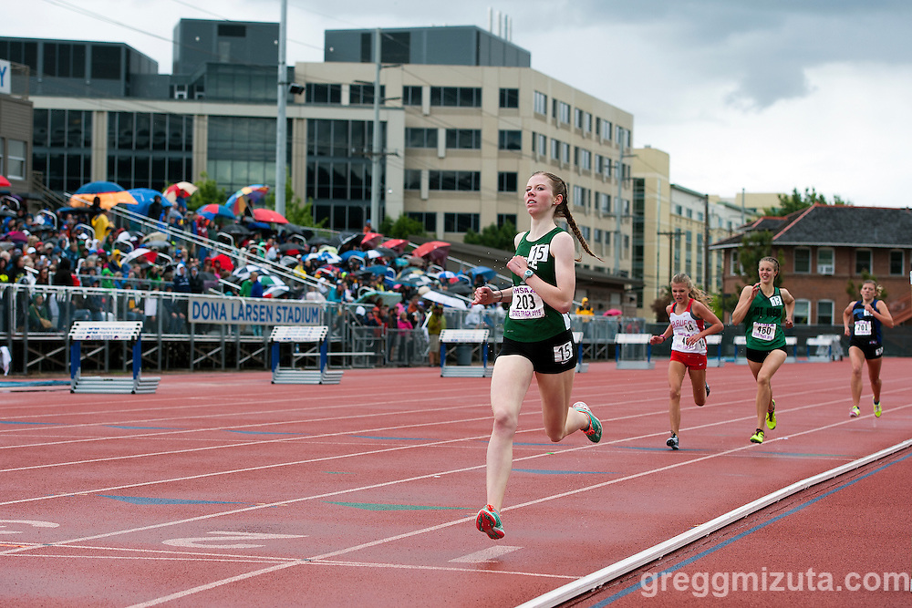 Eagle sophomore McKenna Emerson crosses the finish line in 5:00.67 to finish second in the Idaho High School Track & Field State Championships 5A 1600 meter runat Dona Larson Park, Boise, Idaho. May 21, 2016.