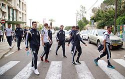HAIFA, ISRAEL - Saturday, March 28, 2015: Wales' Tom Lawrence, Ben Davies on a team walk ahead of the UEFA Euro 2016 qualifying Group B match against Israel. (Pic by David Rawcliffe/Propaganda)