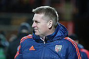 Brentford manager Dean Smith looking on during the Sky Bet Championship match between Brentford and Leeds United at Griffin Park, London, England on 26 January 2016. Photo by Matthew Redman.