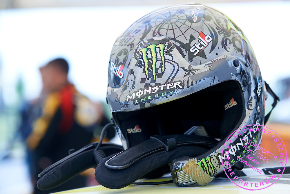 Krzysztof Holowczyc's helmet during training session on rally cross track on May 19, 2015 in Slomczyn, Poland<br /> <br /> Poland, Slomczyn, May 19, 2015<br /> <br /> Picture also available in RAW (NEF) or TIFF format on special request.<br /> <br /> For editorial use only. Any commercial or promotional use requires permission.<br /> <br /> Adam Nurkiewicz declares that he has no rights to the image of people at the photographs of his authorship.<br /> <br /> Mandatory credit:<br /> Photo by &copy; Adam Nurkiewicz / Mediasport