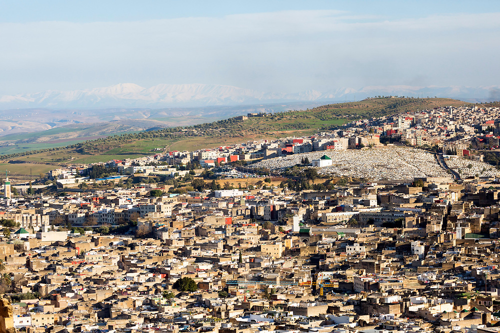 Fez, Morocco - 3rd FEBRUARY 2018 - Urbanscape / cityscape skyline view over the old Fez Medina, Middle Atlas Mountains, Morocco.