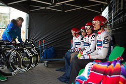 Cervélo-Bigla Cycling Team riders sit patiently before Stage 2 of the Healthy Ageing Tour - a 19.6 km team time trial, starting and finishing in Baflo on April 6, 2017, in Groeningen, Netherlands.