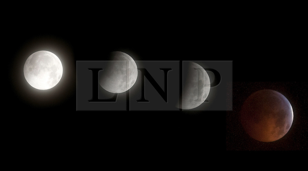 © under license to London News Pictures.  2010/12/21.The phases of the moon through the lunar eclipse as seen from New Paltz, New York, USA. Photo credit should read Michael Graae/London News Pictures