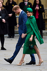 © Licensed to London News Pictures. 09/03/2020. LONDON, UK. The Duke and Duchess of Sussex arrive at Westminster Abbey to attend the annual church service on Commonwealth Day.  Photo credit: Stephen Chung/LNP