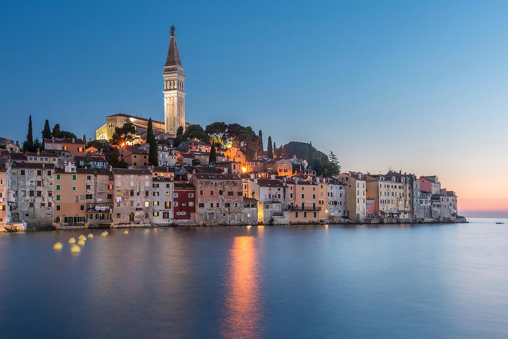Croatia, Istria, Rovinj, the ancient city of Rovinj after sunset