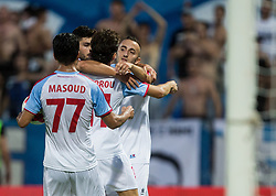 Players of Panionios GSS celebrate after Samed Yesil of Panionios GSS scored second goal for Panionios during 2nd Leg football match between ND Gorica (SLO) and Panionios GSS (GRE) in 2nd Qualifying Round of UEFA Europa League 2017/18, on July 20, 2017 in Nova Gorica, Slovenia. Photo by Vid Ponikvar / Sportida