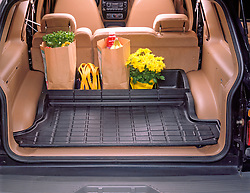 Sport utility vehicle rear cargo space with dividers an groceries
