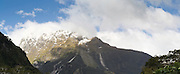 Panoramic view of Sheerdown Peak in the clouds, morning, Milford Sound (Piopiotahi), Fiordland National Park, New Zealand