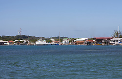 View of Utila town's waterfront, from the water.