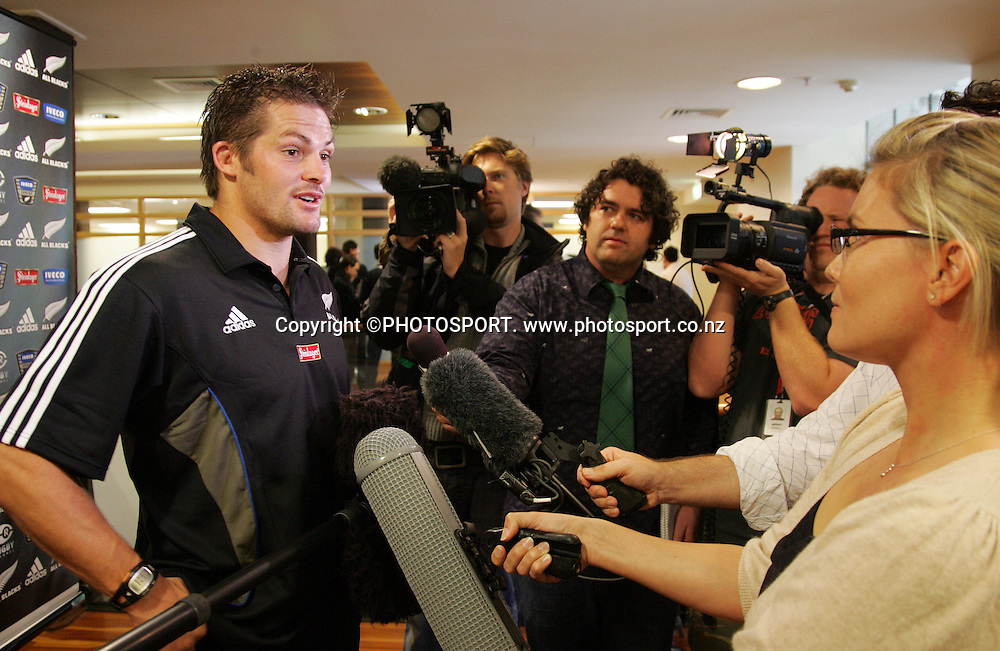 Captain Richie McCaw talks to the media during the All Blacks media session held at the Heritage Hotel, Auckland, on Wednesday 30 May 2007. Photo: Andrew Cornaga/PHOTOSPORT