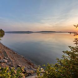 Sunset at Square Lake in Square Lake Township, Maine.