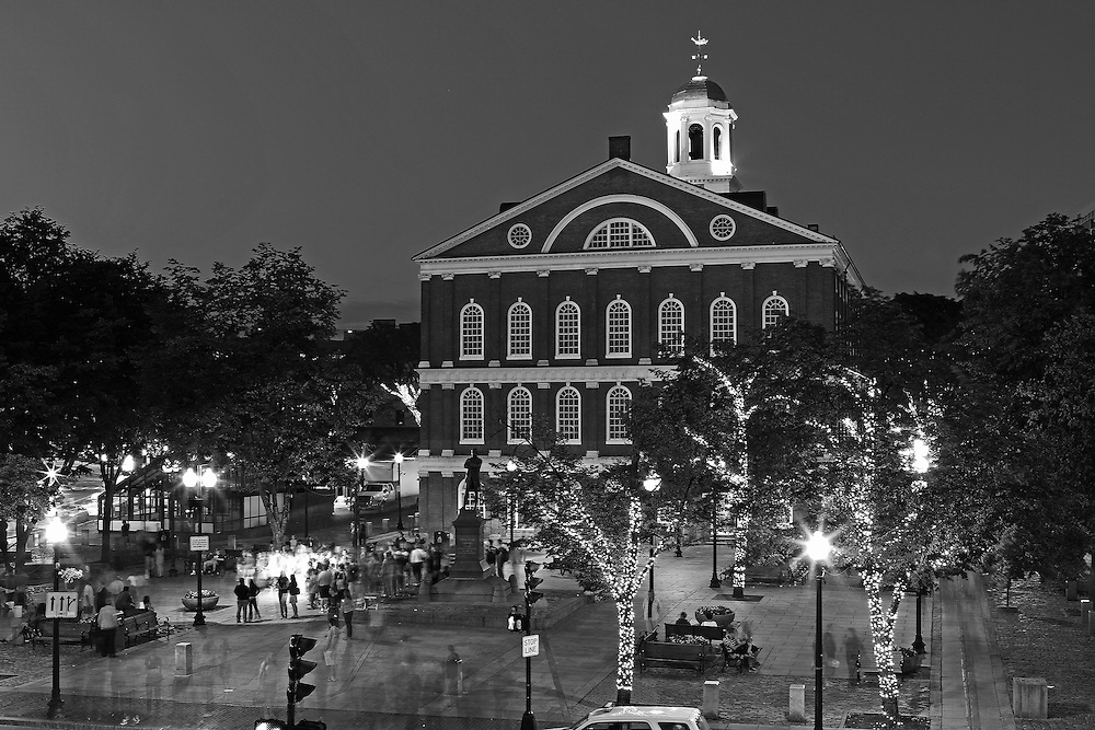 Boston B&amp;W photography of the famous Faneuil Hall Marketplace in Downtown Boston. This historic and iconic New England city of Boston night scenery photography image is available as museum quality photography prints, canvas prints, acrylic prints or metal prints. Fine art prints may be framed and matted to the individual liking and decorating needs:<br /> <br /> http://juergen-roth.pixels.com/featured/the-marketplace-juergen-roth.html<br /> <br /> Good light and happy photo making! <br /> <br /> My best, <br /> <br /> Juergen<br /> Website: www.RothGalleries.com<br /> Twitter: @NatureFineArt<br /> Facebook: https://www.facebook.com/naturefineart<br /> Instagram: https://www.instagram.com/rothgalleries<br /> Photo Blog: http://whereintheworldisjuergen.blogspot.com