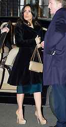 Salma Hayek arriving at a reception hosted by Samantha Cameron at 10 Downing Street in London, at the start of London Fashion Week, Friday, 15th February 2013.  Photo by: i-Images