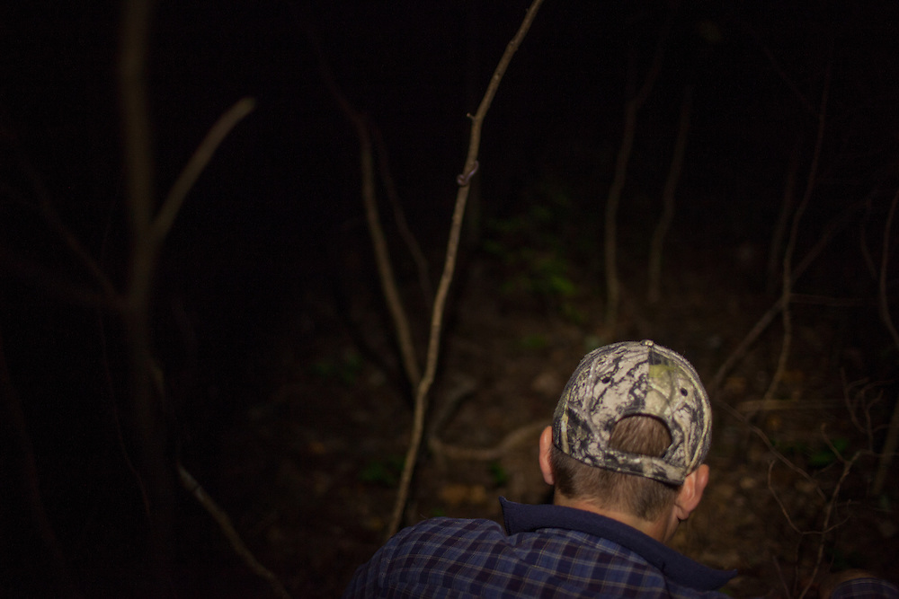 Blood trailing a deer in the dark. Flashlight